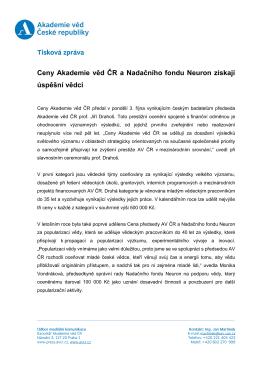 Ceny Akademie věd ČR a Nadačního fondu Neuron získají úspěšní