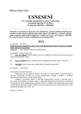 Usnesení z 23. zasedání Zastupitelstva města Česká Lípa Lípa