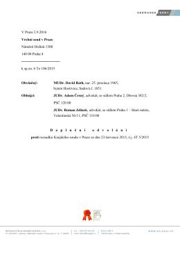 Text mimořádně zajímavého rozboru má Česká justice k dispozici