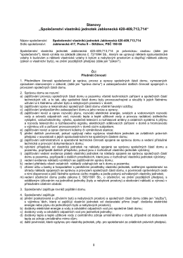Návrh změn stanov SVJ Jablonecká na shromáždění 1.11.2016