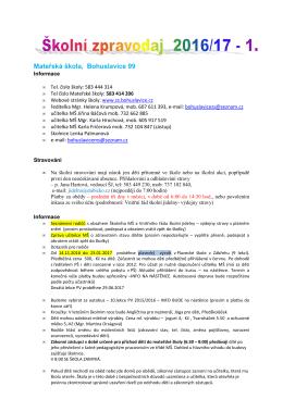 školní zpravodaj 1. mš 2016-17 - Základní škola a mateřská škola