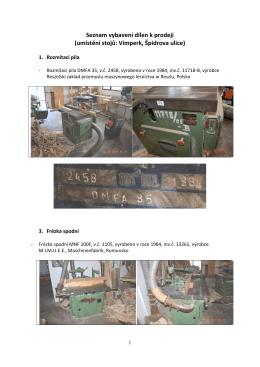 Seznam vybavení dílen k prodeji (umístění stojů: Vimperk, Špidrova