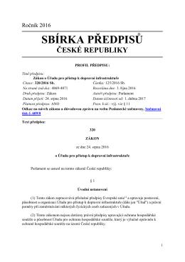 Zákon č. 320/2016 Sb., o Úřadu pro přístup k dopravní infrastruktuře