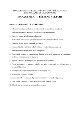 Tematické okruhy k SZZ oboru Management v tělesné kultuře