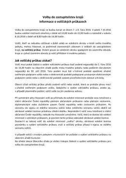 informace o volicskych prukazech