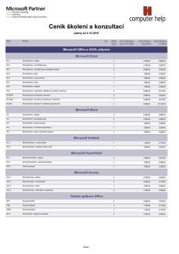 Ceník všech kurzů v PDF