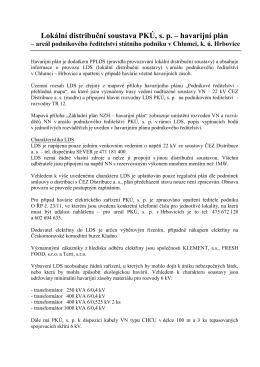 Lokální distribuční soustava PKÚ, s. p. – havarijní plán
