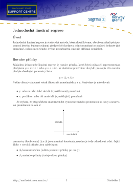 Jednoduchá lineární regrese - Math and Stats Support Centre