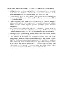 Hlavní faktory podporující rentabilitu VRT podle Ch. Nash