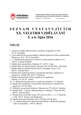 SEZNAMVYSTAVUJ Í C Í CH XX. VELETRH VZDĚLÁVÁNÍ 5. a 6