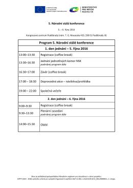 Program 5. Národní stálé konference 1. den jednání – 5. října 2016