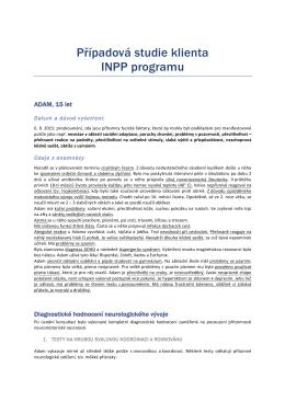 Případová studie klienta INPP programu