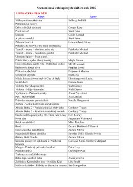 Seznam nově zakoupených knih za rok 2016