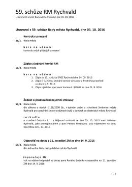 USNESENÍ z 59. schůze Rady města Rychvald