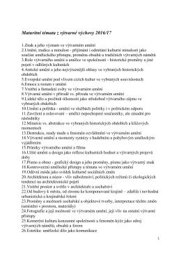 Maturitní témata z výtvarné výchovy 2016/17