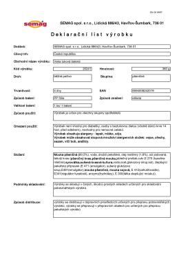 deklarační list výrobku