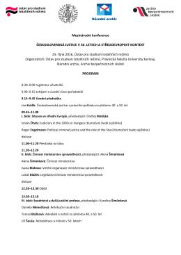 Program mezinárodní konference Československá justice v 50
