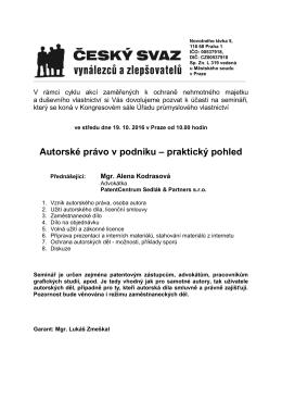 Více informací a přihláška - Úřad průmyslového vlastnictví