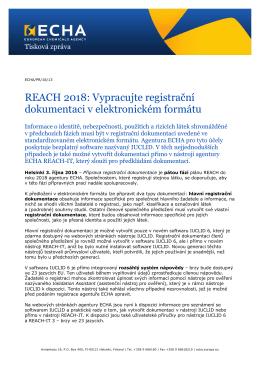 REACH 2018: Vypracujte registrační dokumentaci - ECHA