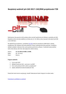 Bezplatný webinář pit-CAD 2017: CAD/BIM projektování - TZB-info