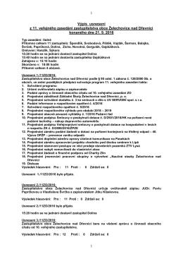 Výpis usnesení z 11. veřejného zasedání zastupitelstva obce