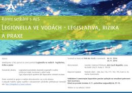 Legionella ve vodách - legislativa, rizika a praxe