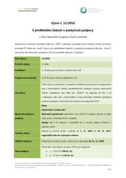 Text výzvy č. 11/2016 - Státní fond životního prostředí