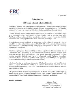 Tisková zpráva ERÚ jedná zákonně, nikoliv alibisticky