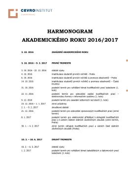 harmonogram akademického roku 2016/2017