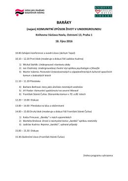 Program konference BARÁKY (nejen) komunitní způsob života v