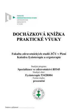 Docházková knížka FYT 2016 - Fakulta zdravotnických studií