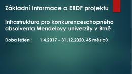 Základní informace o ERDF projektu