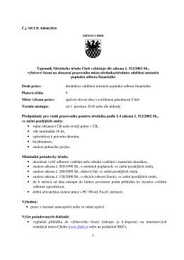 úředník/úřednice oddělení místních poplatků odboru finančního