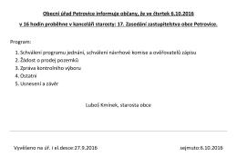 Oznámení o zasedání ZO dne 6.10.2016