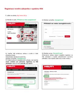 Registrace nového zákazníka v systému Hilti
