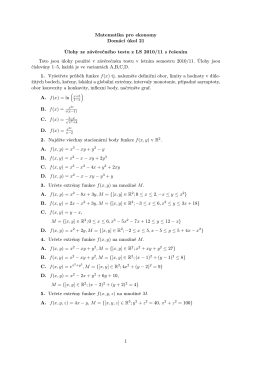 Matematika pro ekonomy Domácí úkol 21 Úlohy ze závěrečného