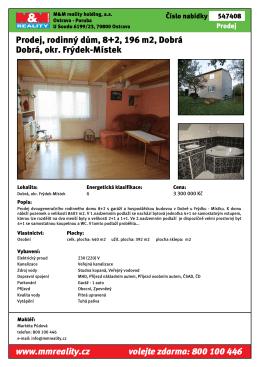 Prodej, rodinný dům, 8+2, 196 m2, Dobrá Dobrá, okr. Frýdek