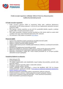 Výběrové řízení: Auditor/ka interních procesů