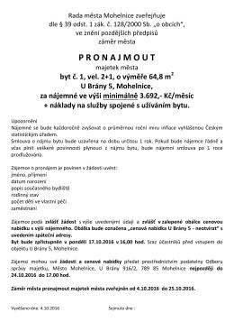 Rada Města Mohelnice zveřejňuje