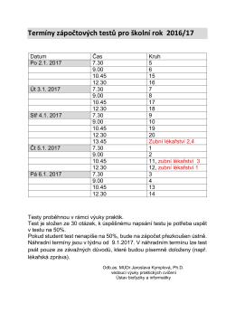 Termíny zápočtových testů pro školní rok 2016/17