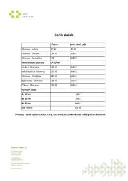 Ceník služeb - AGE Centrum
