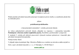 AK Felix a spol. (Praha) hledá praktikanta