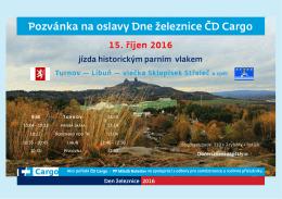 Pozvánka na oslavy Dne železnice ČD Cargo dne 15. října 2016