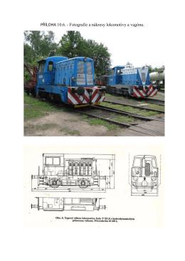 PŘÍLOHA 10.6. - Fotografie a nákresy lokomotivy a vagónu.