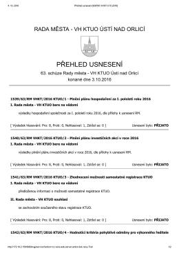 přehled usnesení - Ústí nad Orlicí