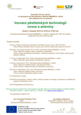 """Pozvánka na seminář """"Inovace pěstitelských technologií ovoce a"""