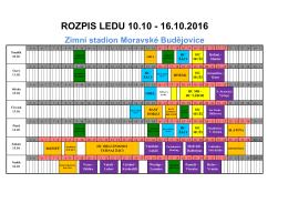 rozpis 10.10.- 16.10.2016 - Zimní stadion Moravské Budějovice
