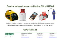 Servisní vybavení pro nová chladiva R32 a R1234yf detektory