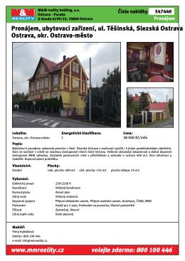 Pronájem, ubytovací zařízení, ul. Těšínská, Slezská Ostrava Ostrava