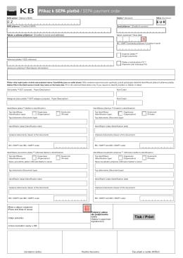 Příkaz k SEPA platbě včetně doplňujících údajů